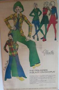 1972Vintage Newspaper Bobbie Brooks Bell Bottoms Mini Skirts Hippies Rock & Roll
