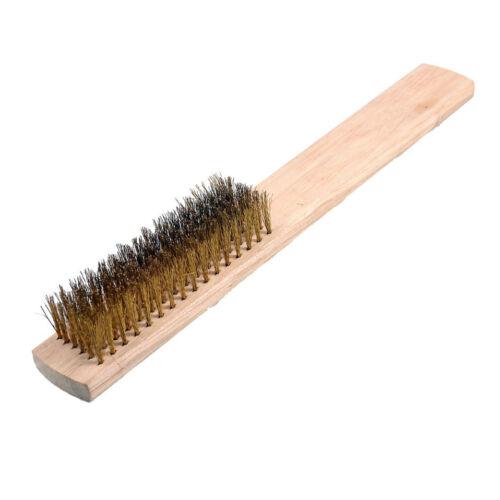 6 rangées en Laiton Poil Bois Poignée Fil Scratch Brush N3