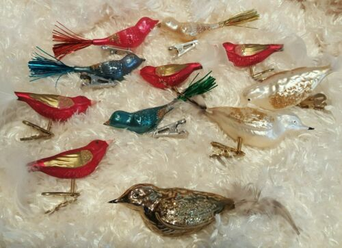 10 Vintage MERCURY BIRD ORNAMENTS With Clips And Feathers/Tinsel