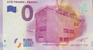 BILLET-0-EURO-CITE-FRUGES-PESSAC-LE-CORBUSIER-FRANCE-2016-NUMERO-1100