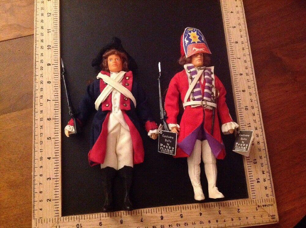 Rara Vintage Peggy Nisbet soldado abrigo rojo Muñecas. británico & American Minuteman