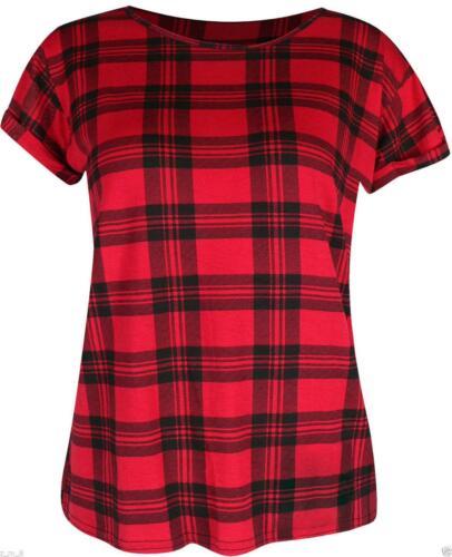 DONNA LAMINATO Maniche Corte Stampa Tartan CHECK T-Shirt Top Maglietta corta manica ad aletta