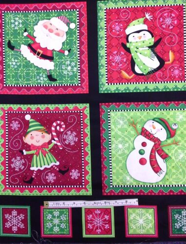 Christmas Panel Fabric Panel Santa Elf Snowman  Holly Jollies 100/% cotton.