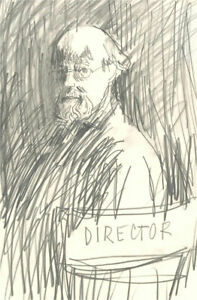 Peter Collins ARCA - Mid 20th Century Graphite Drawing, The Director