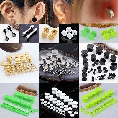 "Pair Stainless Steel Ear Stud Fake 12G-9/16"" Cheater Plug Stretcher Earring Men"
