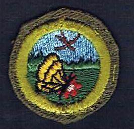 Nature Crimped Merit Badge 1952-1960 Type E  Cotton Wht Bk St 700111