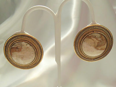ULTRA CHUNKY Textured Gold Shades Tan Agate STONE Center CLIP Earrings F3-E01