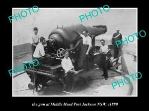 OLD-POSTCARD-SIZE-PHOTO-OF-PORT-JACKSON-NSW-THE-MIDDLE-HEAD-CANNON-c1880