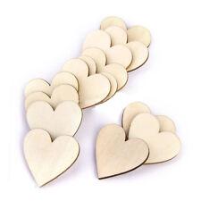 50 Pcs 40mm Blank Plain Wooden Love Heart Shape for Weddings Plaques Art Craft