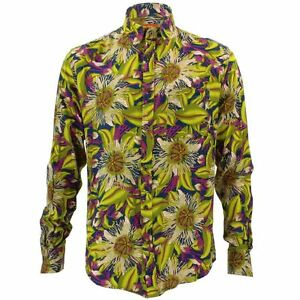 Mens-Loud-Shirt-Retro-Psychedelic-Funky-Party-TAILORED-FIT-Green-Floral
