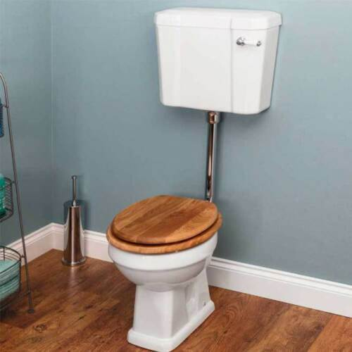 Traditional Bathroom Toilet Pan /& Cistern Low Level Gloss White WC Oak Seat