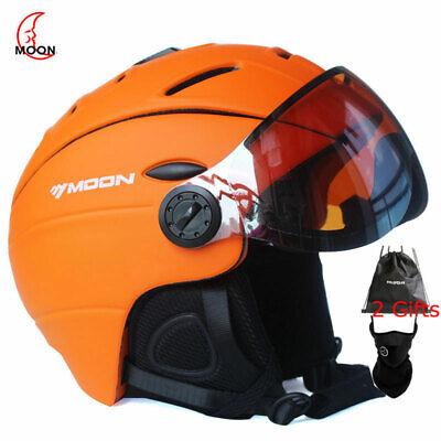 2 in 1 Integrally-Molded Snow Helmet for Adult Sports Helmet Protective Glasses Snowboarding Windproof Protective Gear for Skiing MOON Snow Ski Helmet with Detachable Glasses Skateboard Helmet