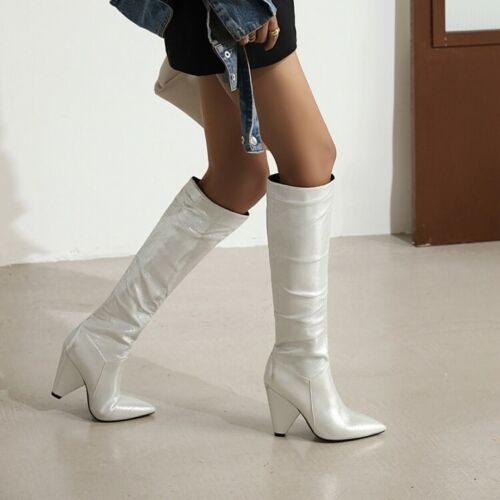 Women/'s Knee-high Boots Block Heel Long Boot Pointed Toe Fashion Party Shoes