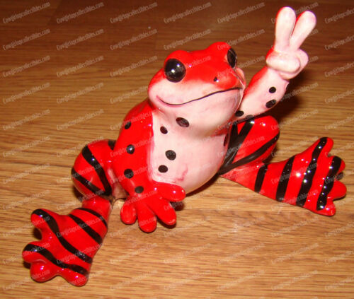 Westland, 18860 Spots and Stripes FROG Ceramic Peace Frogs