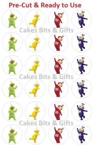 24 x TELETUBBIES Edible Wafer Cupcake Toppers PreCut, Ready to Use