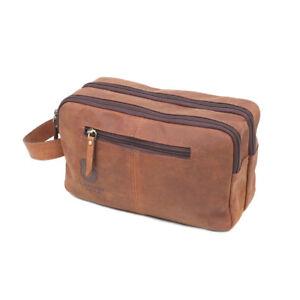 0172d0cc94fc Details about Vintage Leather Toiletry Bag Travel Men Shaving Case Cosmetic  Organizer Dopp Kit
