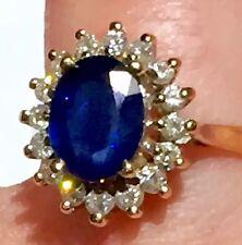 3.49TCW Natural Blue Sapphire Diamond Halo Designer EFFY BH 14k Ring