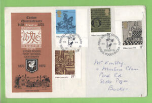 Conjunto-de-Graham-Brown-1976-William-Caxton-en-oficial-S-P-primera-escuela-primer-dia-cubierta