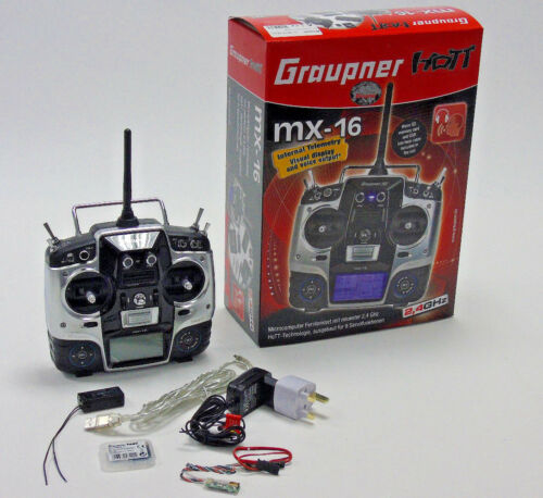 Graupner HOTT MX-16 2.4GHz 8 Ch Channel Transmitter /& Receiver Combo New Boxed
