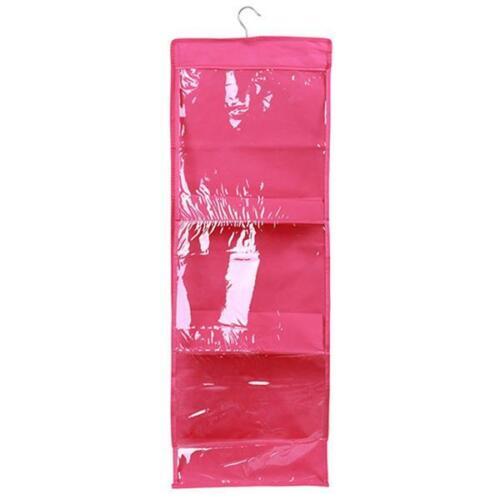 6 Pocket Shelf Bags Handbags Hanging Organizer Storage Closet Rack Hanger G