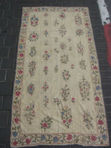 ANTIQUE UZBEK SILK HAND MADE- EMBROIDERED SUZANi 173x93-cm / 68.1x36.6-inches