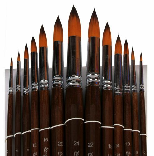 Long Handle Synthetic Round Pointed Tip Artist Paint Brushes 13 Piece Set