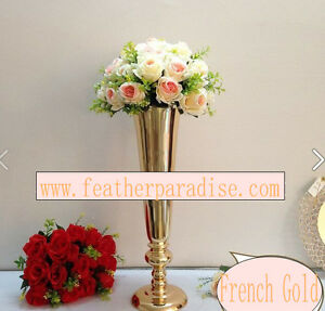 Gold Tall Trumpet Metal Vases Centerpiece Vases Floral