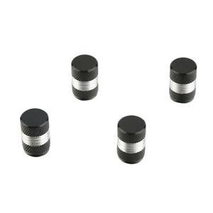 Lot-de-4-bouchons-de-valve-en-aluminium-Argent-Noir-Auto-Moto-Velo