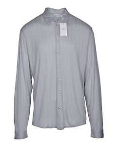 Armani-Collezioni-Men-039-s-Dress-Shirt-16-5-x-35-36-Large-Grey-Stripe-Made-in-Italy