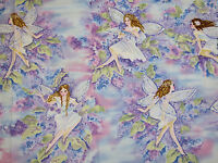 Fairies Silver Glitter Purple Floral Timeless Treasures 100% Cotton Fabric Hy