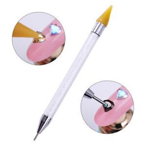 Nail-Art-Picker-Wax-Rhinestone-Pencil-Bead-Crystal-Handle-Dual-ended-Dotting-Pen