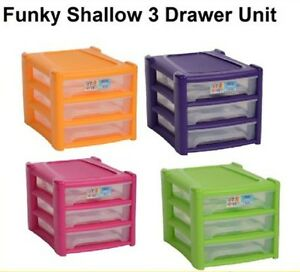 Image Is Loading New A4 Shallow 3 Drawer Plastic Storage Unit