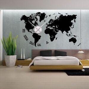 Mappemonde Deco Murale sticker mural horloge géante mappemonde +mécanisme aiguilles | ebay