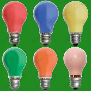 4x 25w Coloured Gls Decorative Party Light Bulbs Standard Es E27 Screw Lamps Ebay