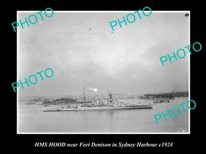 OLD-POSTCARD-SIZE-PHOTO-OF-THE-HMS-HOOD-IN-SYDNEY-HARBOUR-BRITISH-NAVY-c1924
