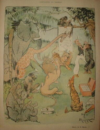 LC 048//CARICATURE 1898 de MAYER LE VETERINAIRE OCULISTE en AFRIQUE