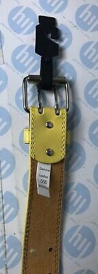genuine leather belt Yellow tow hole Strong Lock Size M 104cm Long X 35mm Wide