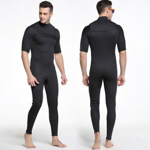 Men-3mm-One-piece-Surf-Suit-Short-Sleeve-Wetsuit-Neoprene-Freediving-Diving-Suit