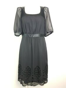 Katherine Silk Lace & Stud Vintage Style Black Dress Women's Size 10 AU Designed