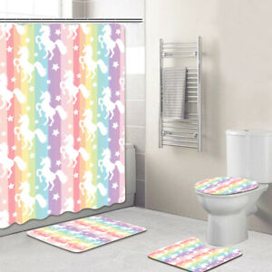 Bathroom-Polyester-Bath-Shower-Curtain-Panel-Non-Slip-Toilet-Cover-Rugs-Mat-Set