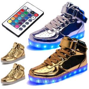 2018 Women Men Remote Control LED Light Up Shoes USB High Top ... b26ccdacc