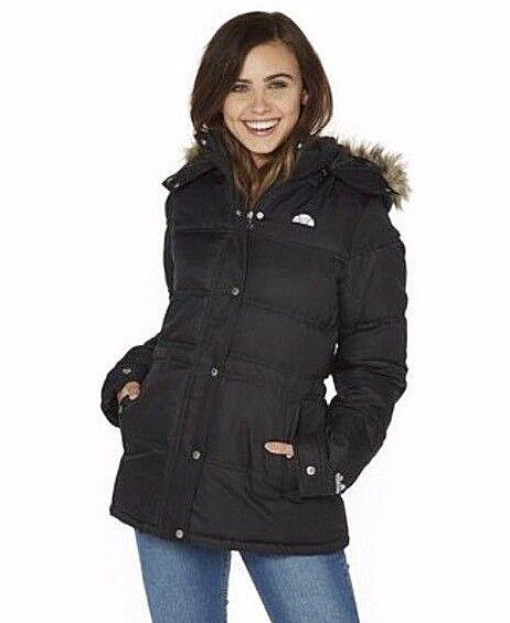 NEU Damen Ellesse Ardea Kunstfell Gesteppt Warme Jacke schwarz Größe L Rrp £ 74.99