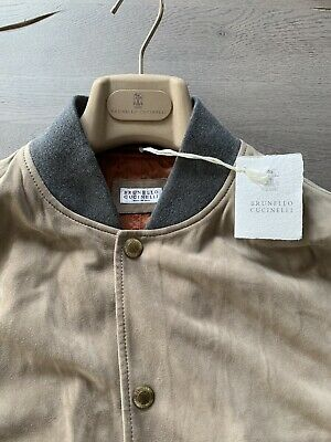 Brunello Cucinelli Suede Velour Pelle Leather Vest Gilet Sweat Jacket Giacca M-mostra Il Titolo Originale