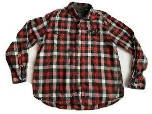 Woolrich-Mens-XL-Flannel-Shirt-Red-Black-White-Plaid-Button-Front-Long-Sleeve