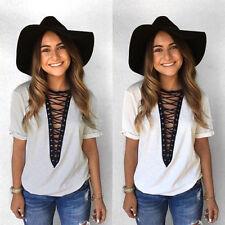Fashion Women Lady Summer Short Sleeve Loose Blouse Casual Shirt Tops T-Shirt