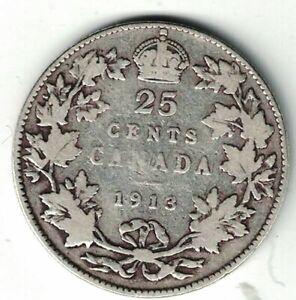 CANADA-1913-TWENTY-FIVE-CENTS-QUARTER-KING-GEORGE-V-STERLING-SILVER-COIN