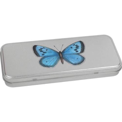 Storage Box /'Blue Butterfly/' Metal Hinged Tin TT021088