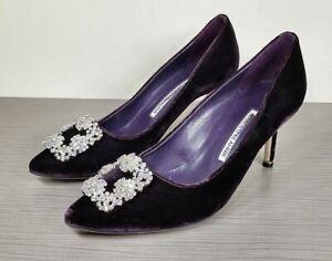 Manolo-Blahnik-039-Hangisi-039-Jewel-Pump-70mm-Heel-Purple-Velvet-Womens-Size-9-39