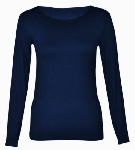 Women's Plain Long Sleeve Round Neck Basic Ladies Stretchy T-Shirt Top 8-14