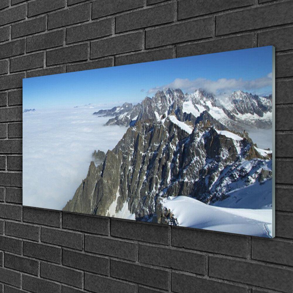 Tableau sur verre Image Impression 100x50 Paysage Montagne Brouillard